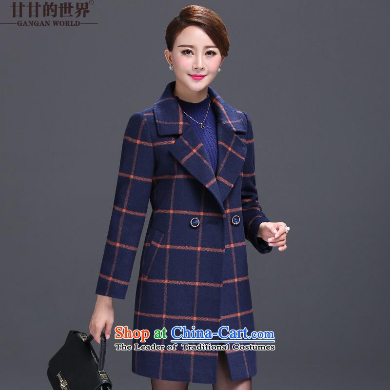 Gangan World 2015 autumn and winter in new long temperament grid larger women's mother boxed long-sleeved jacket? long-sleeved elegant Gross Gross coats women female? blue2XL