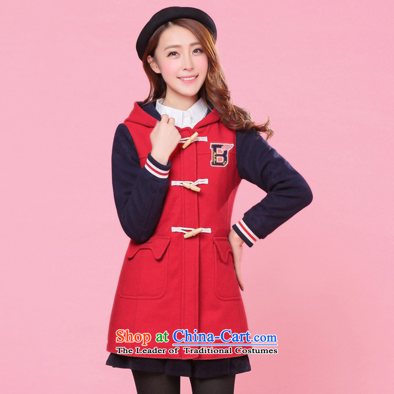 2015 new girls plain preppy winter clothing Korean students in gross? jacket long horns detained a wool coat red燬