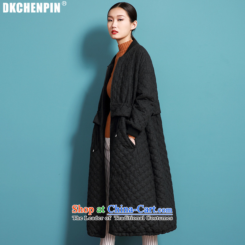 Maximum number of ladies hair fall_winter collections long-sleeved jacket? Korean cloak loose in long Leisure wool a wool coat black聽S