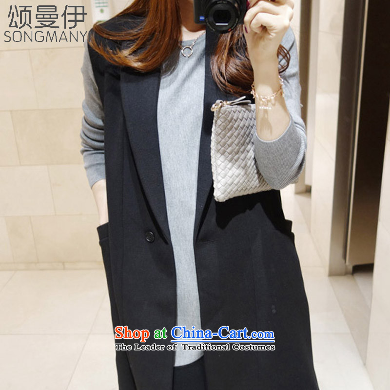 Chung Cayman El 2015 autumn and winter new larger female thick MM Coated Knit shirt + larger jacket, a two kits female black XXXL 5212