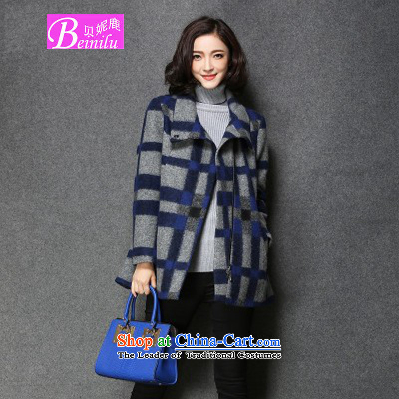 Connie Deer 2015 Addis Ababa autumn and winter new gross jacket female grid? temperament larger wool a wool coat loose video thin lattices燣