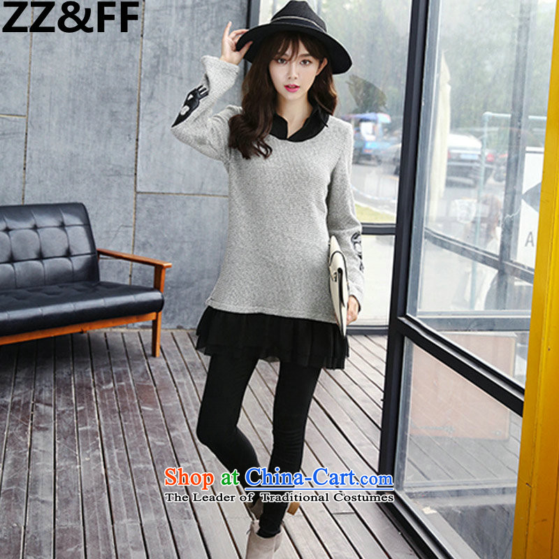 The new 2015 Zz_ff autumn and winter large female 200MM thick leisure knitted catty stitching forming the Netherlands dresses聽XXXXXL color picture