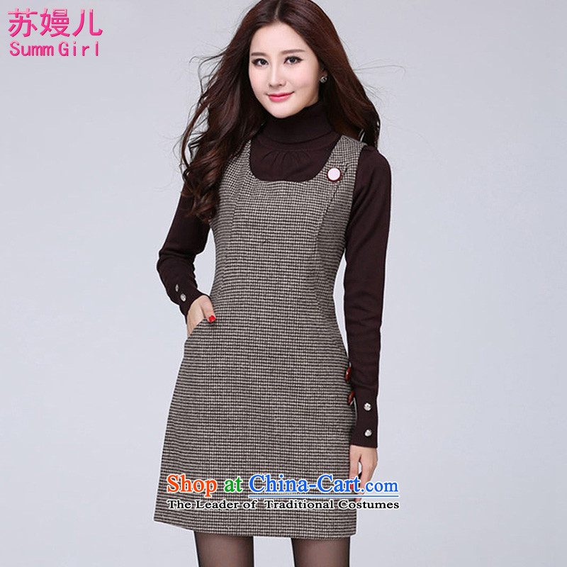 Su-Man Ka Bo2015 autumn and winter new larger female Korean version MM thick hair?   vest dressesG3600picture colorXL