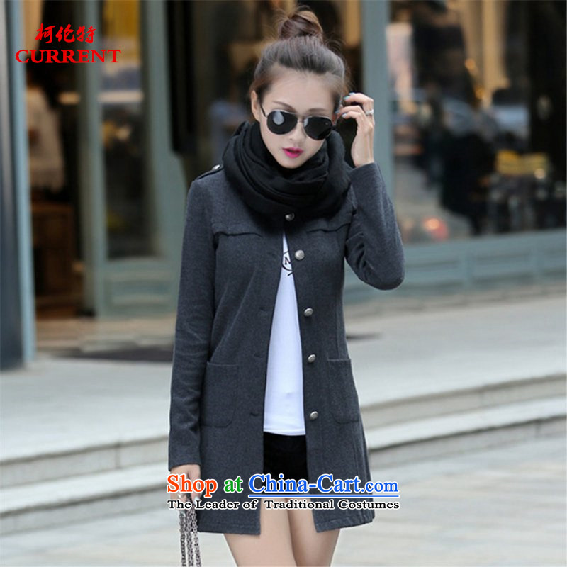 The 2015 autumn Curran) Ms. new coats larger female Korean Sleek and versatile pure cotton long-sleeved shirt, long, on leisure shirt X8951 Sau San carbon XL