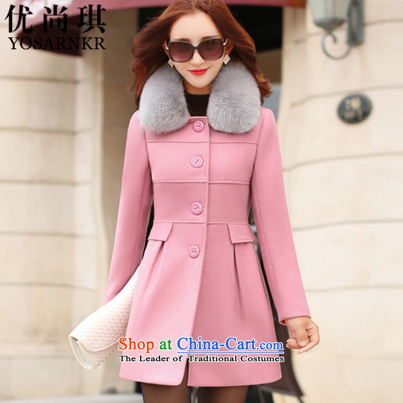 Optimize Shangqi 2015 autumn and winter coats new Korean women? fashion, long hair? coats of Sau San Mao jacket women 8089 Skin? pink燲L