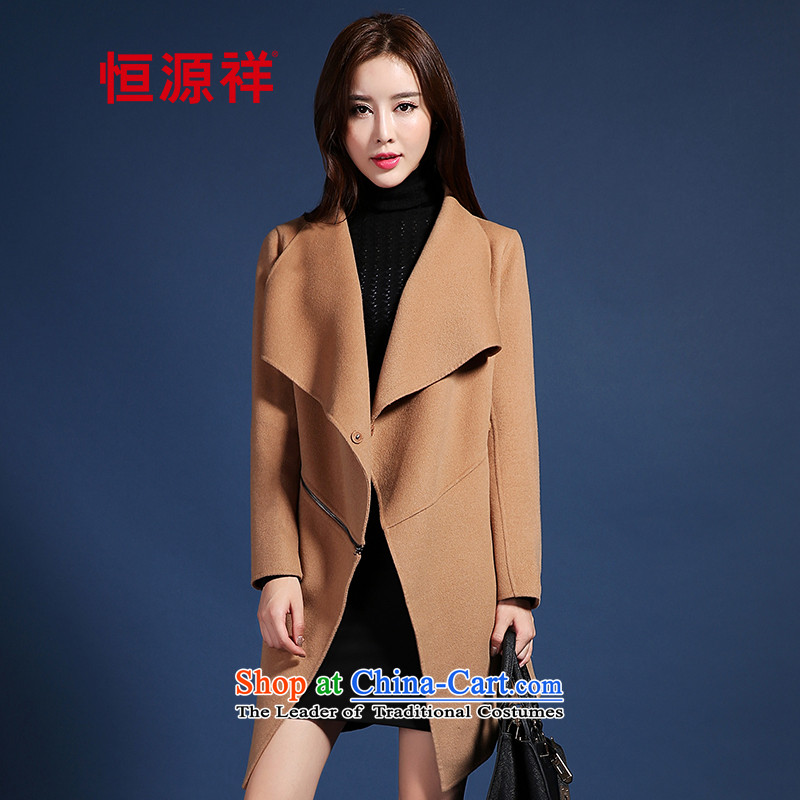 Hengyuan Cheung gross?2015 new female jacket hand-over the medium to longer term, a 100_ wool double-side and color160_84A_M Coats
