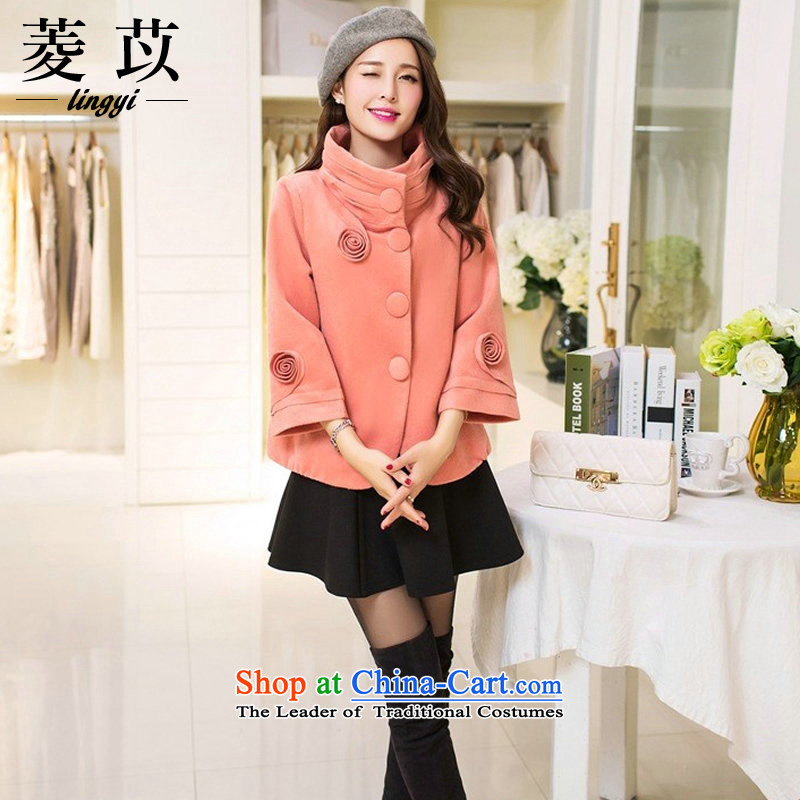 Ing Barings be 2015 autumn and winter new larger gross?_ Single Rank jacket short clip collar 7 Cuff Sau San a wool coat pink M