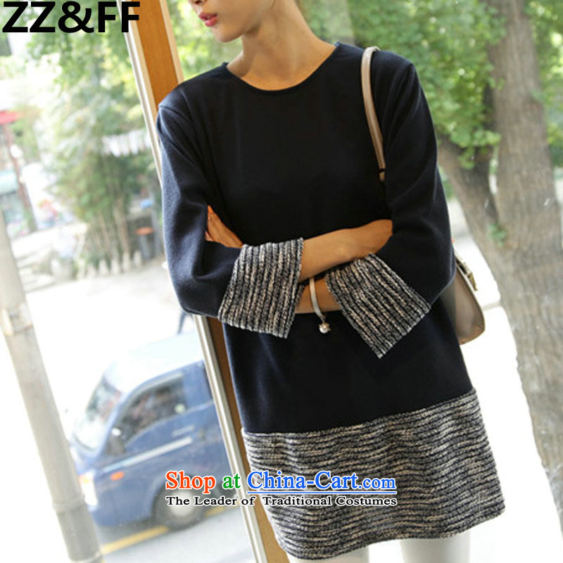 The new 2015 Zz&ff to xl thick MM stitching. Long loose video thin large women wear shirts dresses dark blue color XXXXXL spell checker