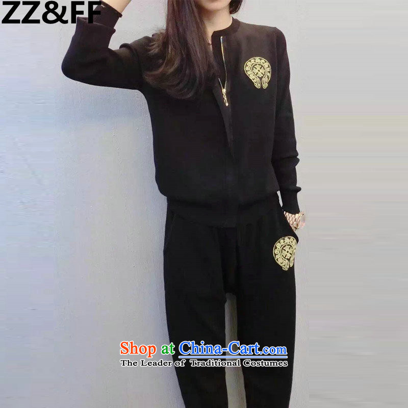 2015 Autumn and winter new Zz_ff stylish look long-sleeved sweater pants and two piece leisure sports suits for larger female black燲XXXXL
