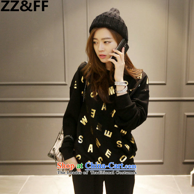 The new 2015 Zz_ff to xl autumn and winter female thick MM200 catty letters forming the shirt sweater stamp T-shirt black燲XL
