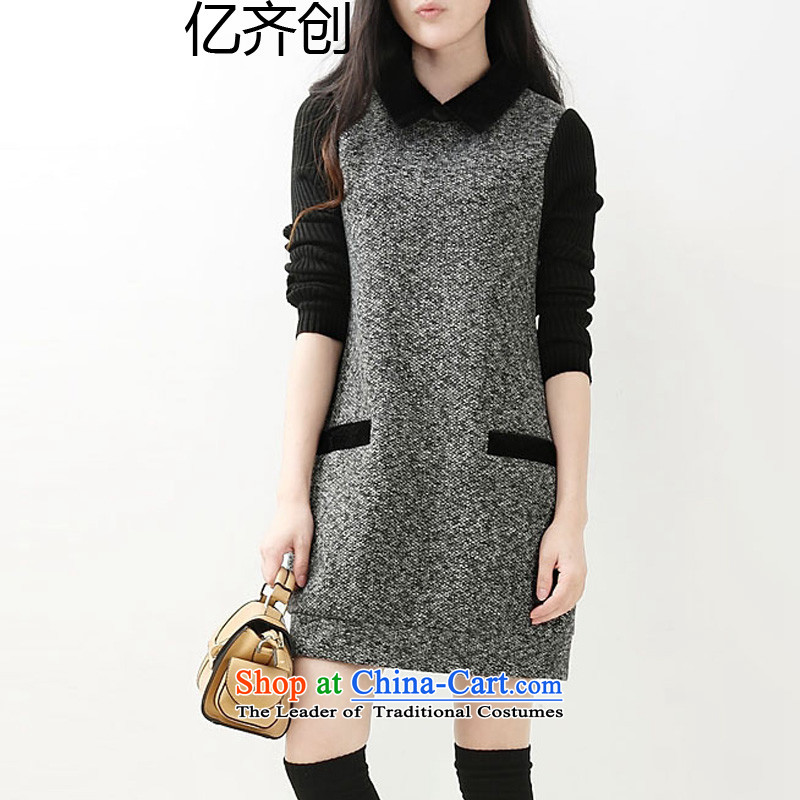 Billion by 2015 large gymnastics women for winter thick mm version won thin dresses in sister long thick hair? dresses F972  XXXXL Gray