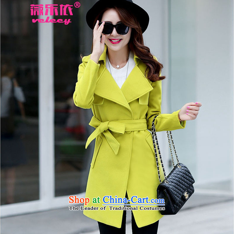 Ms Audrey EU Lok according to gross? 2015 autumn and winter coats female new Western Wind Foutune of gross girls coat? Long a fluorescent color燤