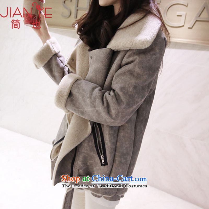 Jane can also fall and winter new women's thick short of Sau San? female Korean jacket coat 075 gray?S?