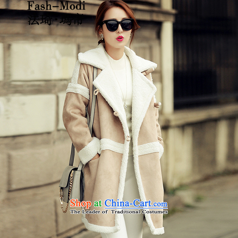 The law was in Dili Qi 2015 autumn and winter new Korean warm thick lambs for gross stitching suede windbreaker jacket Western big girl loose video thin coat female picture color聽L