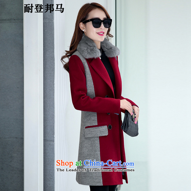 Resistant to log state ma 2015 autumn and winter new Korean women's gross jacket female spell color? In long hair? coats female Sau San Cherry Red燲L