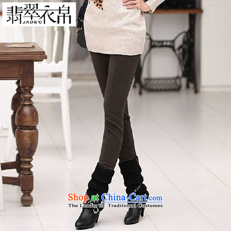 2015 Autumn and winter, the major new code plus outside through forming the lint-free cleaning female trousers casual pants and skinny legs thickened the video light brown trousers XXXXXX6 Pencil