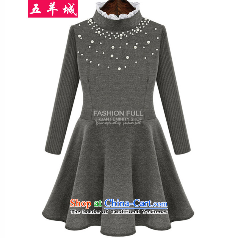 Five Rams City larger dresses 2015 new autumn and winter large female thick MM thin nail Pearl, video a spell a series e knitting sweater, forming the cuff thick dark gray 3XL 22 recommendations 140-160 characters around 922.747