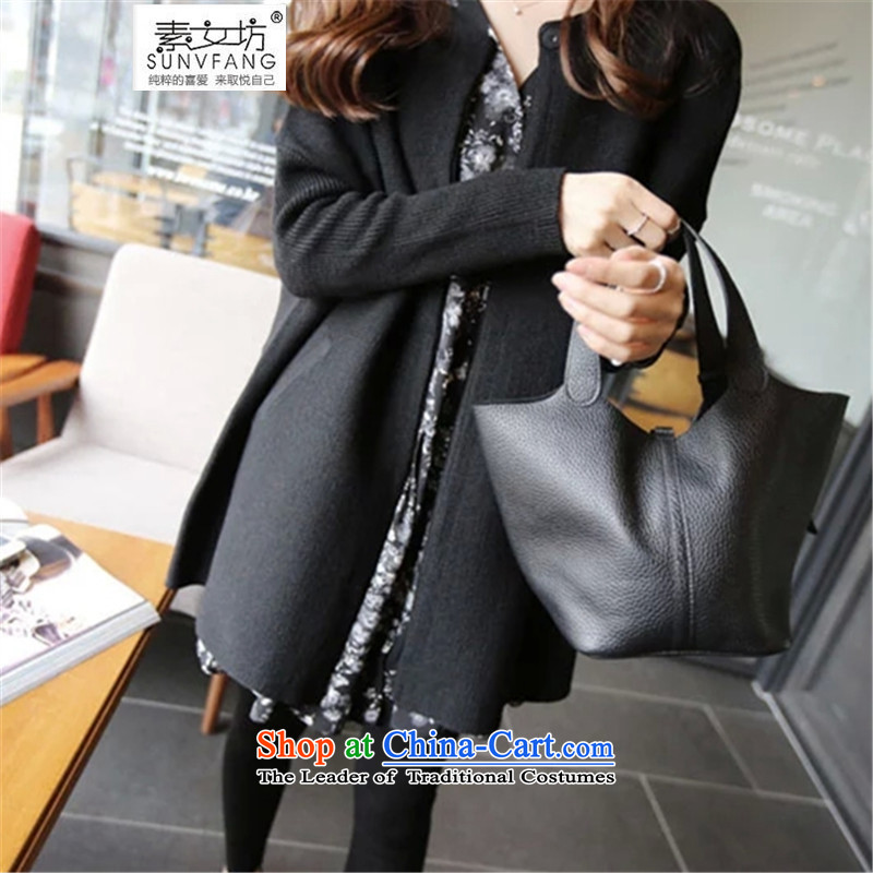 Motome workshop for larger female thick sister knitted cardigans 2015 extra autumn and winter female thick MM stitching knitting cardigan Knitted cuffs 5225 Black 3XL recommended weight 140-160 characters catty
