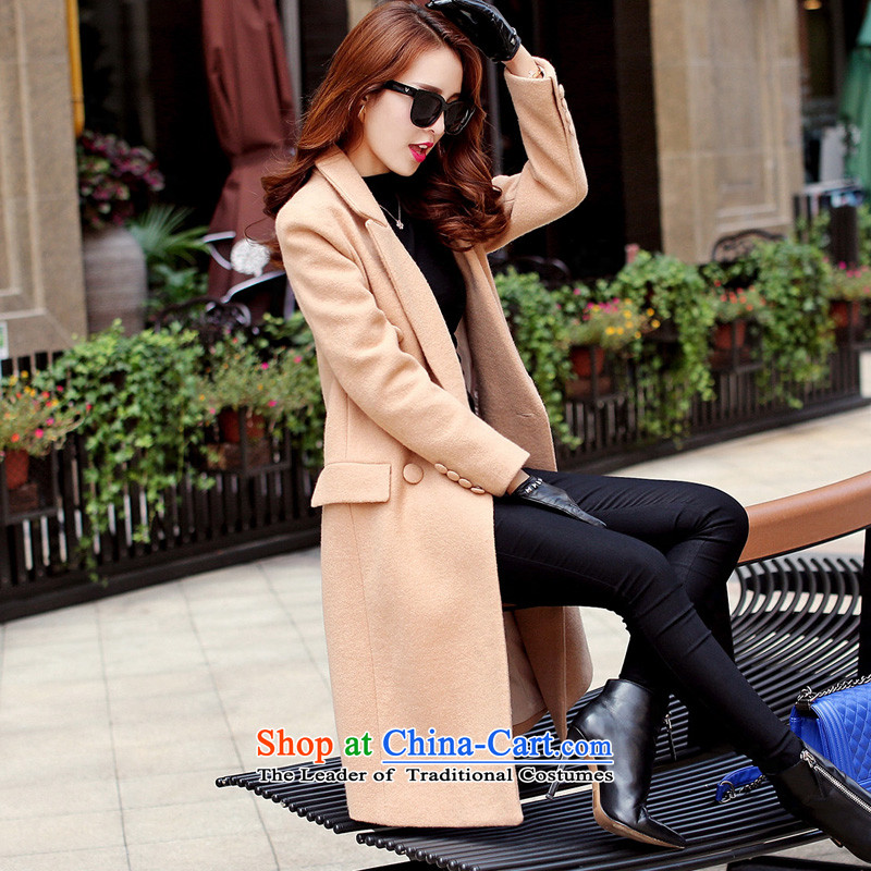 Land population by 2015 autumn and winter Opertti new product gross Korean woman? coats of winter clothing in new long thick wool female jacket child Connie? coats, double-Sau San women and color?L