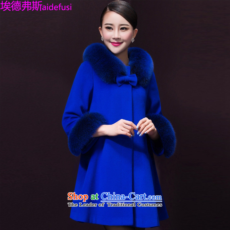 Mr. de Vries gross?燼utumn and winter coats women 2015 new Korean large leisure women stylish cloak a wool coat in the long hair loose coat female blue?�L