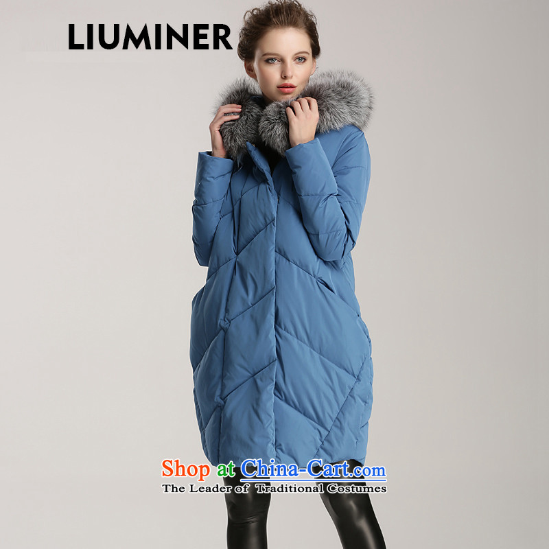 Europe and the high-end hard callus LIUMINER transition in long coats female 2015 autumn and winter monsoon new cap down jacket cowboy blue for weight around 115-125 L