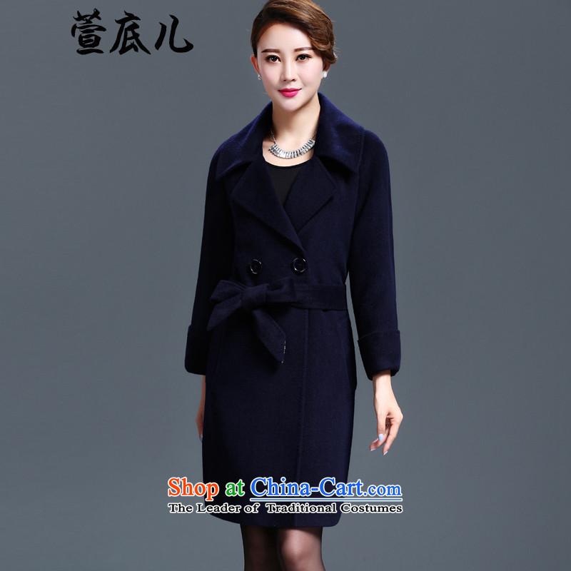 Mavis Fan bottom 2015 Autumn Women's clothes in new long wool coat of Sau San? suit for double-a blue jacket4XL