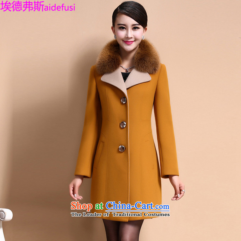 Mr. de Vries gross? autumn and winter coats women 2015 new Korean large leisure women stylish lapel a wool coat in the long hair of Sau San? female 2XL yellow jacket