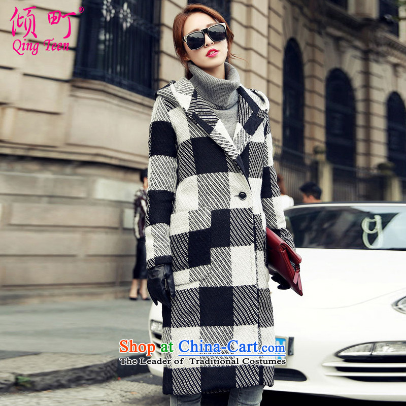 The Dumping machi聽2015 autumn and winter new sweet girl with cap Sau San latticed gross coats female jacket聽9820-?聽S_80-105_ black