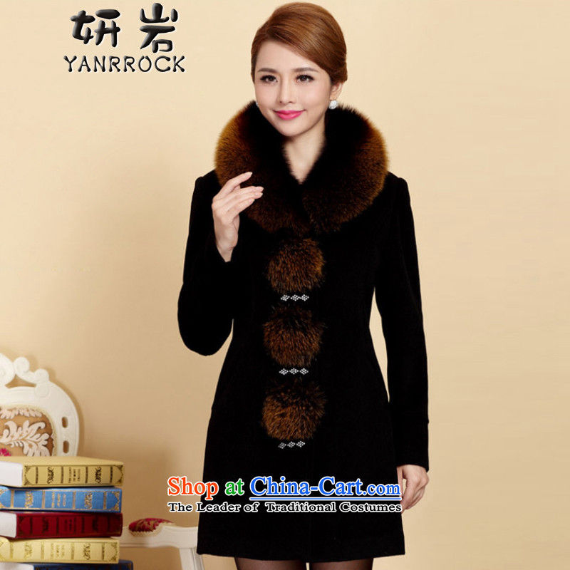 Charlene Choi Rock?2015 winter new moms with large middle-aged emulation for cashmere sweater Fox Gross Gross female 6088 black cloak??XL