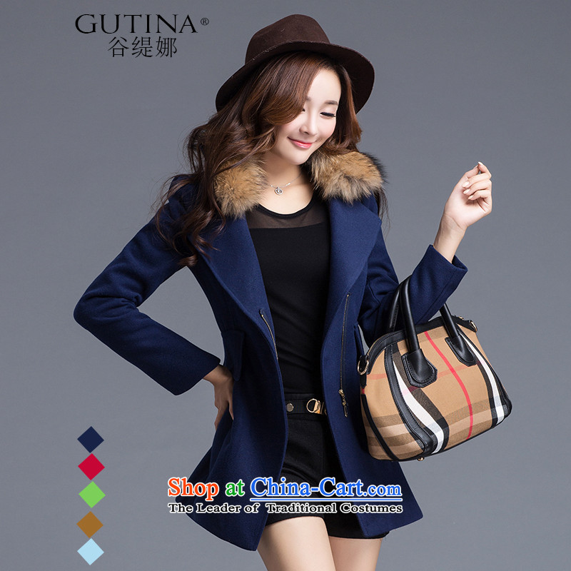 The economy is on the girl in the gross coats of autumn and winter 2015 New solid color two-sided a wool coat larger female Korean jacket blue燣