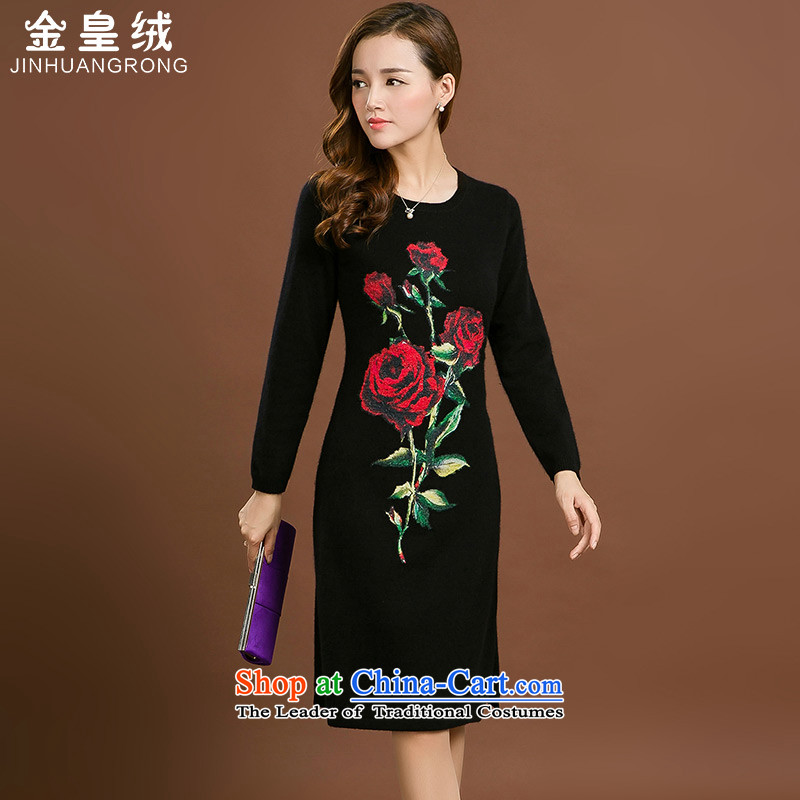 Jinhuang lint-free cheongsam dress of nostalgia for the 2015 autumn and winter new products in the medium to long term for women forming the knitted woolen stingrays stamp sweater skirt black large XXXL code