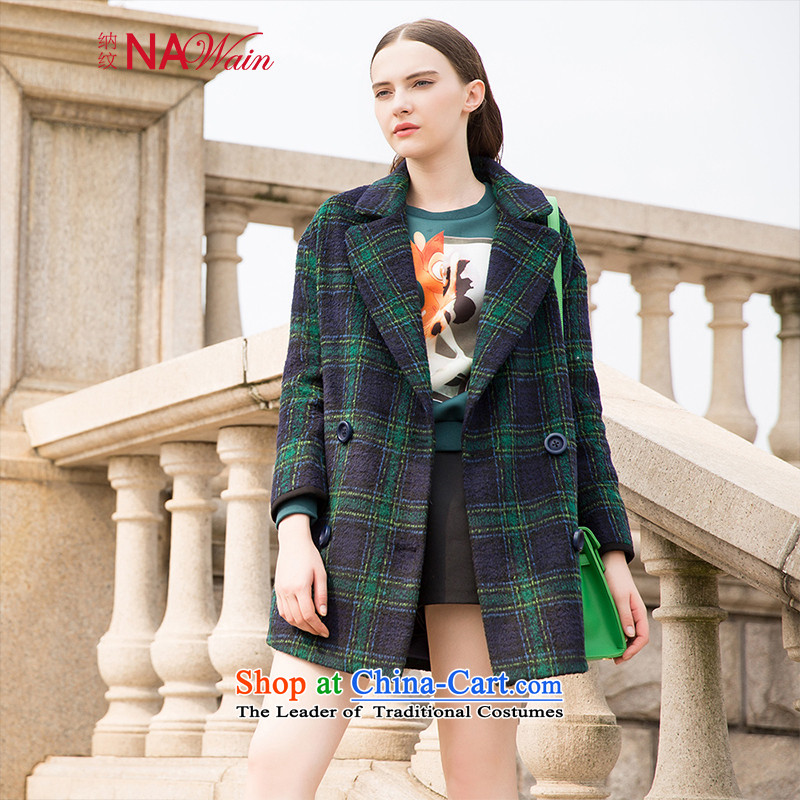 The term of the new Europe and the 2015 winter wind in loose long double-plaid thick hair? female N54123I coats green S