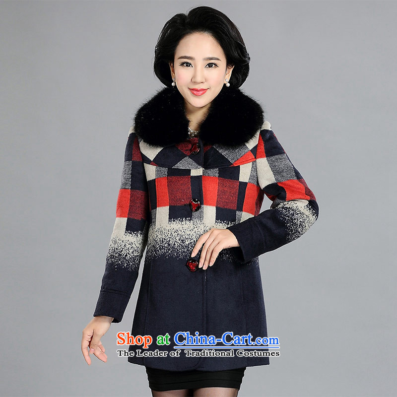 Women Cyan/Red LED large stylish grid gross coats Cyan/RED XXXL