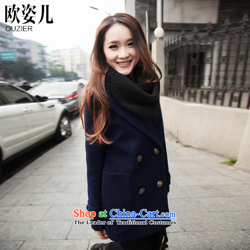Gigi Lai Yee?2015 OSCE autumn and winter new stylish wool coat girl in gross? Ms. long suit washable wool a blue jacket?XL