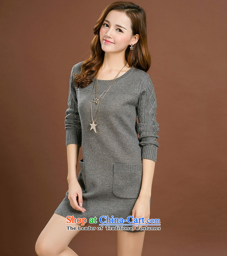 Jinhuang lint-free large female thick mm autumn and winter dresses wool female loose neck long female thick Coated Knit shirts large gray code 4XL Photo, prices, brand platters! The elections are supplied in the national character of distribution, so action, buy now enjoy more preferential! As soon as possible.