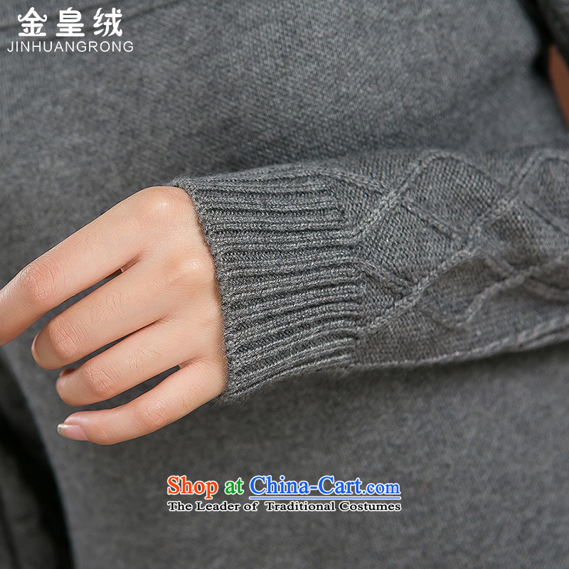 Jinhuang lint-free large female thick mm autumn and winter dresses wool female loose neck long female thick Coated Knit shirts large gray code 4XL, Jinhuang wool (jinhuangrong) , , , shopping on the Internet