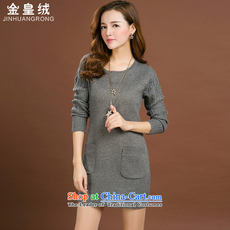 Jinhuang lint-free large female thick mm autumn and winter dresses wool female loose neck long female thick Coated Knit shirts large gray code 4XL