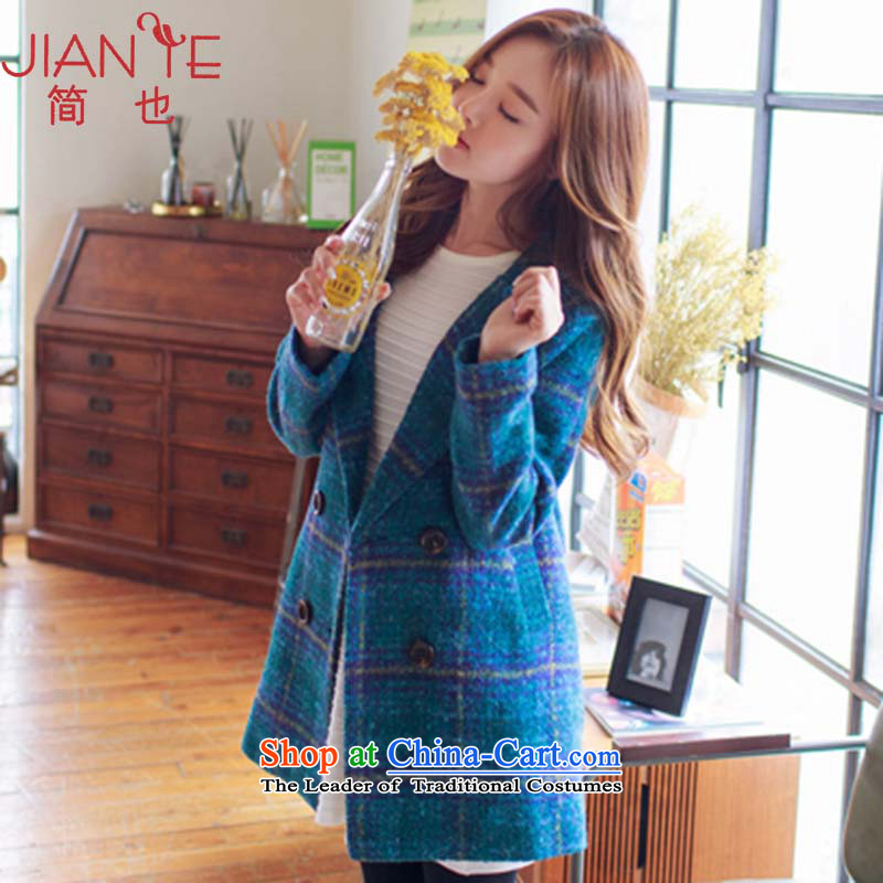 Jane can also in the autumn and winter 2015 long green tartan gross Korean female jacket? wool coat W101 retro? The Green Grid燬