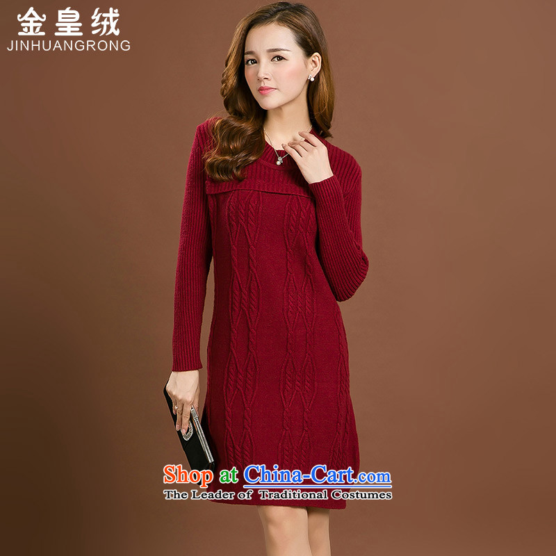 Jinhuang lint-free to xl women's dresses autumn and winter 2015 mm thick Korean version in the thin long forming the Netherlands sweater skirt thick large wine red 2XL