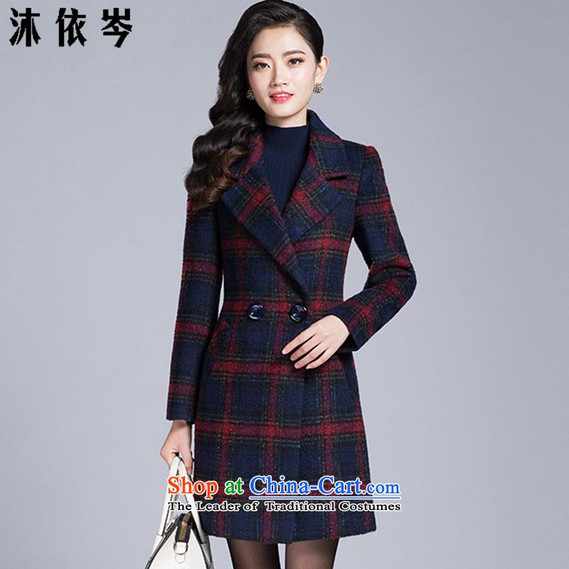 In accordance with the CEN 2015 bathing in the autumn and winter new for women in the xl long temperament grid long-sleeved jacket 251_ elegant gross Red Grid? XXL