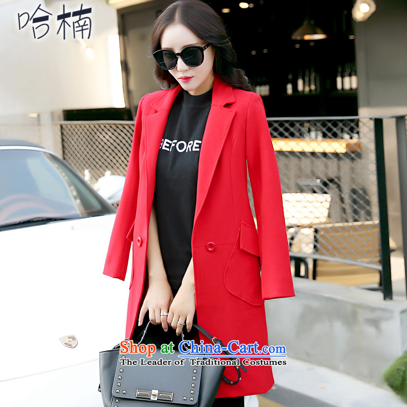 The Nan Mao jacket female Korean version of this medium to long term)? 2015 winter coats women for women a wool coat larger female red XL