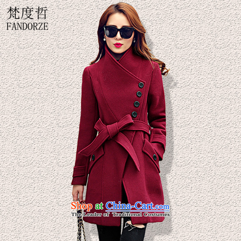 Van Gogh degrees-chul 2015 winter clothes on the new new woolen coats female Korean? woolens Stylish coat in the Sau San long-sided flannel wool coat U052? BOURDEAUX燲L