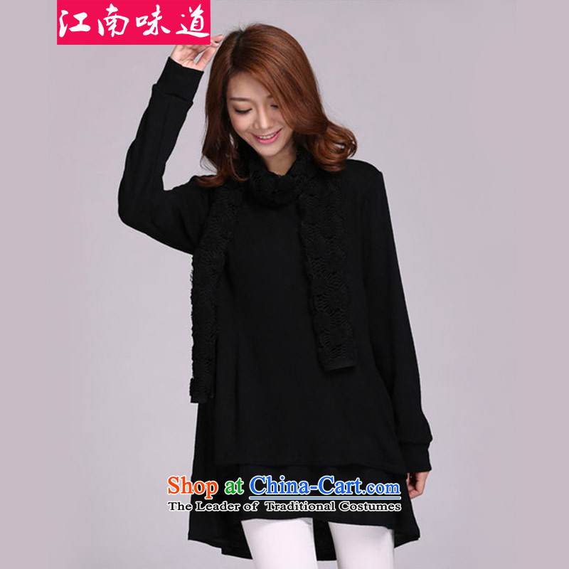The Gangnam taste large autumn and winter 2015 women to increase sweater, forming the long-sleeved T-shirt with round collar scarf leave in two long of ladies' knitted shirts 3XL black skirt recommendations 160-180 catty