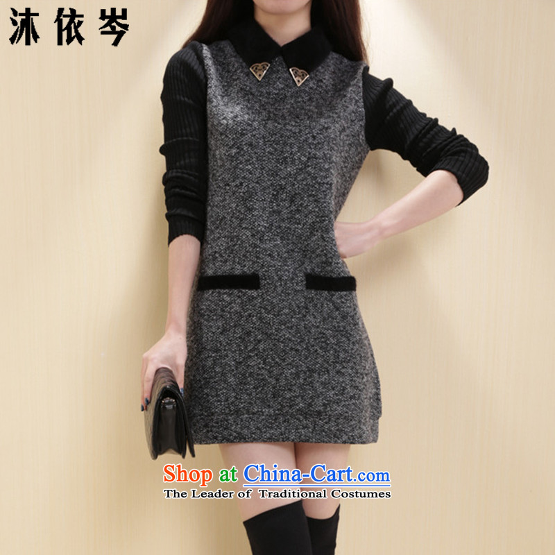In accordance with the CEN 2015 bathing in the autumn and winter new women's thick MM larger Knitted cuffs stitching lapel Thick coated dresses 252_ gray XL