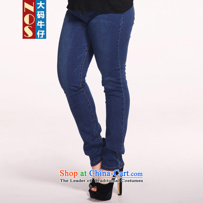 Nos 2015 winter to increase women's code thick mm high waist jeans pure cotton aggressive pure color trousers Y25011 large Blue�