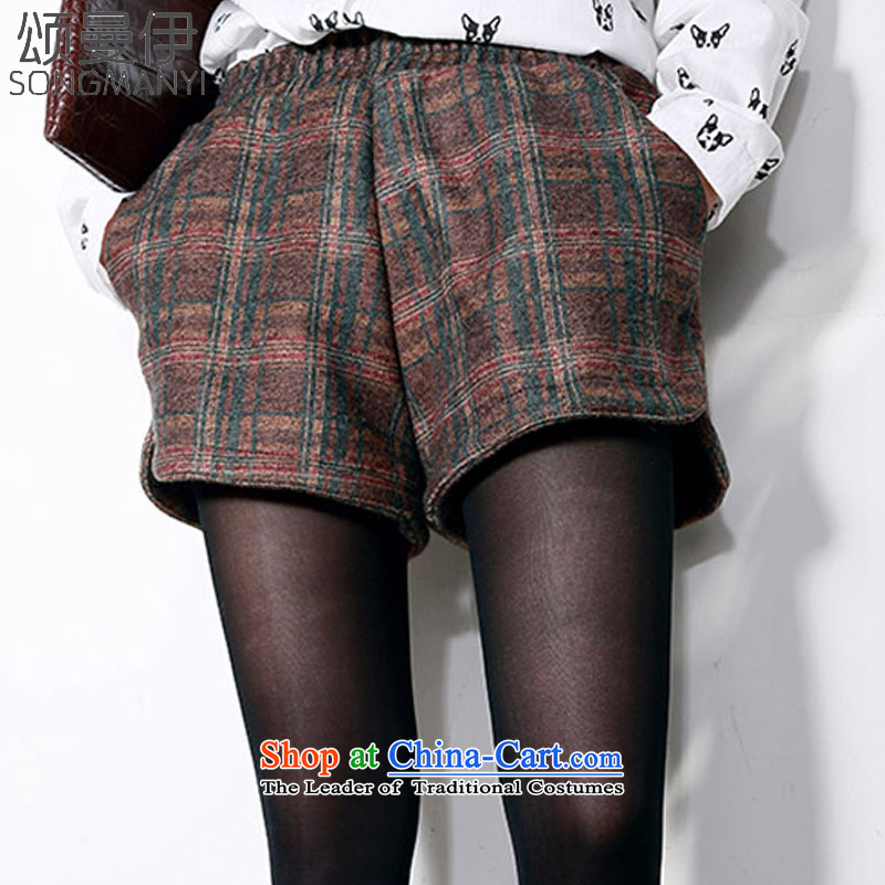 Chung Cayman El2015 autumn and winter new to xl female elastic waist latticed gross shorts?5222latticedXXXL Brown