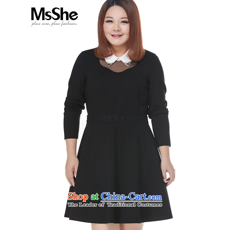 Msshe xl women 2015 new autumn splicing pin-ju the yarn thick sister skirt A swing or 10307 long-sleeved black 4XL