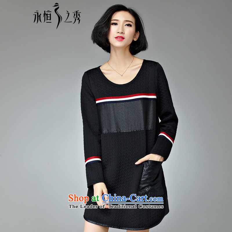 The Eternal-soo to xl women's dresses 2015 Fall_Winter Collections of new products thick mm sister long-sleeved T-shirt, Hin thin in the thick of Korean clothes 3XL black