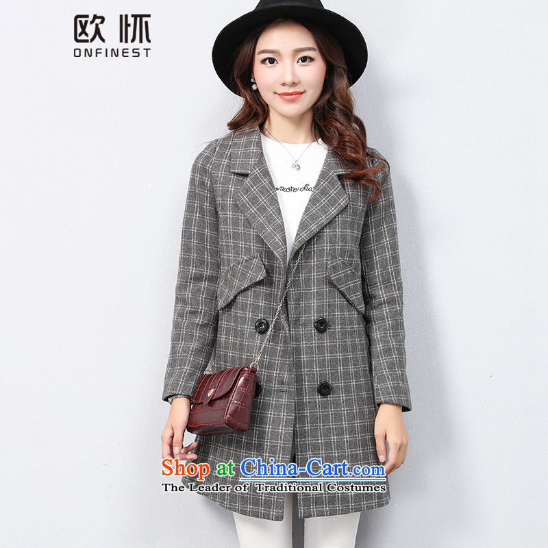 The OSCE with Korean OUHUAI Fall_Winter Collections female new stylish simplicity long-sleeved lapel long hair? coats jacket compartments B23060 GRAY M