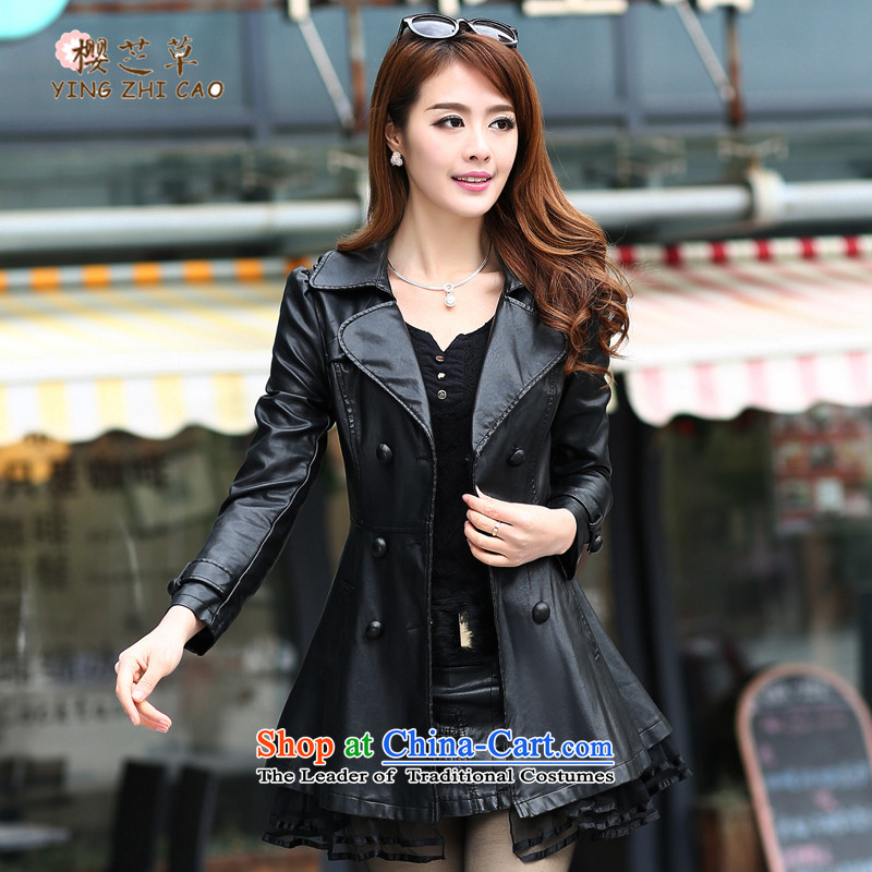 Sakura, Cecilia grass larger female 200 catties autumn jacket coat to xl Leather clothes in long thick girls' Graphics thin of leisure loose thick black聽XL_ Ms. mm recommended around 922.747 110_
